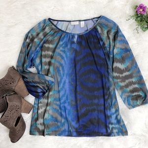 Chico's Blue and Brown SZ 2 Semi-sheer Top